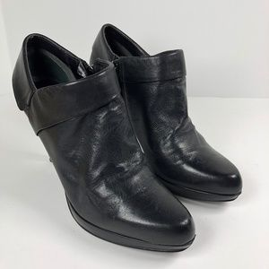Bandolino Black Leather Booties High Heels Sz 7.5M